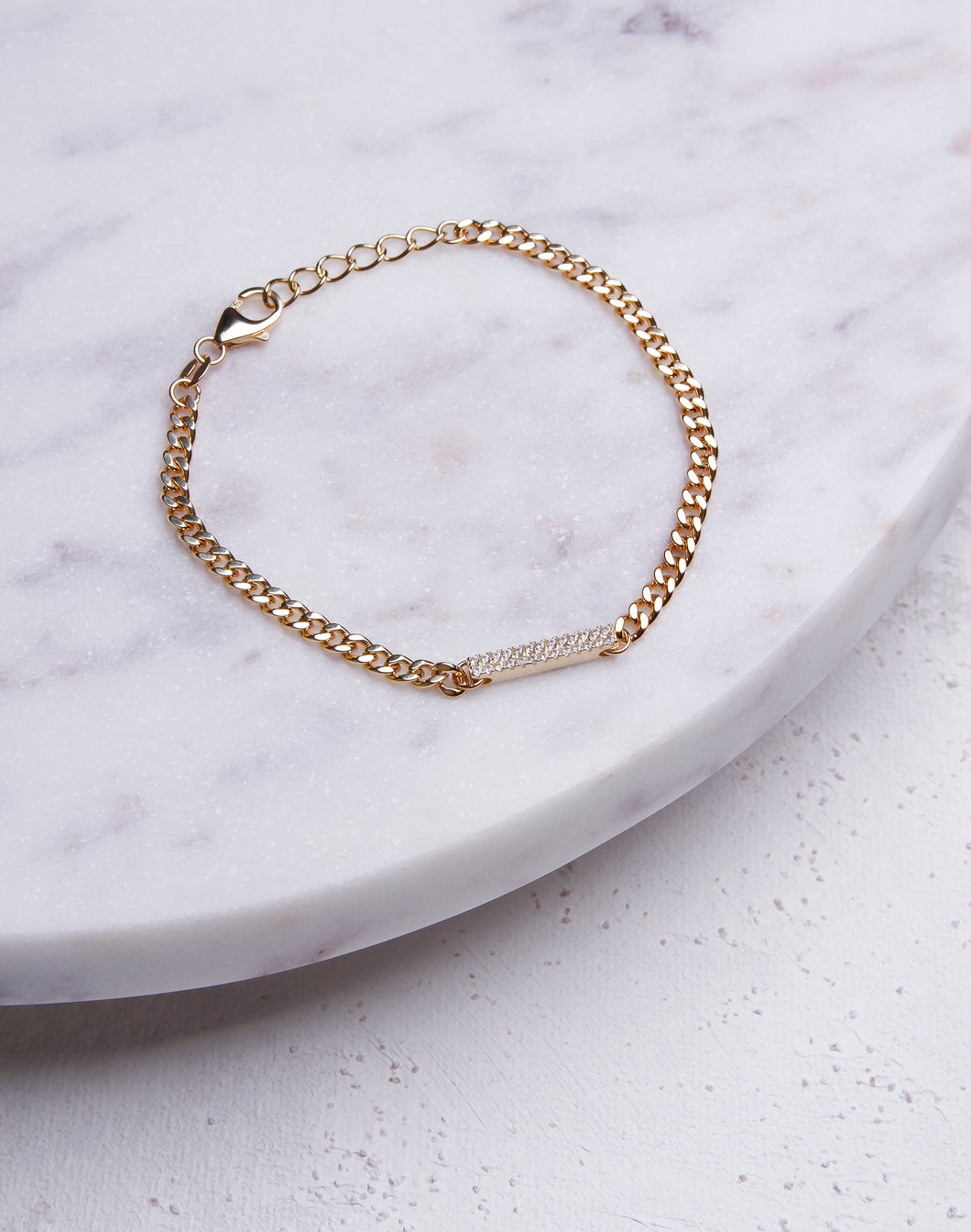 Tiny Cuban Link Chain CZ Bar Bracelet - 14K Gold Vermeil