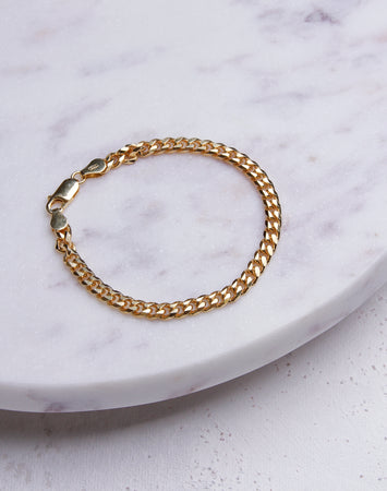 Small Cuban Link Chain Bracelet- 14K Gold Vermeil