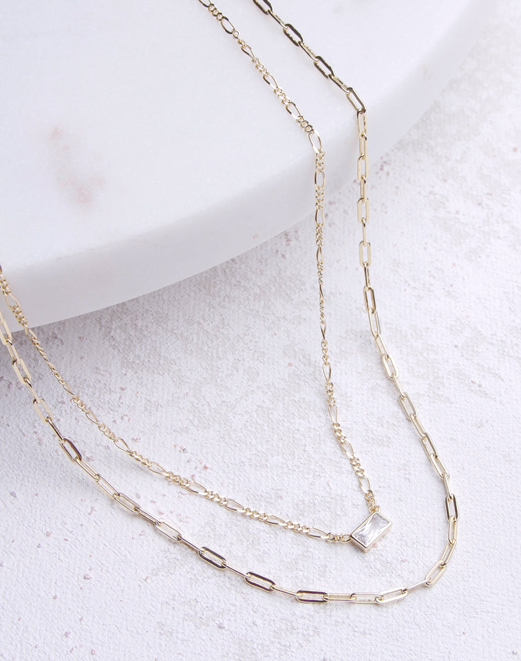 Double Paperlink Chain Necklace
