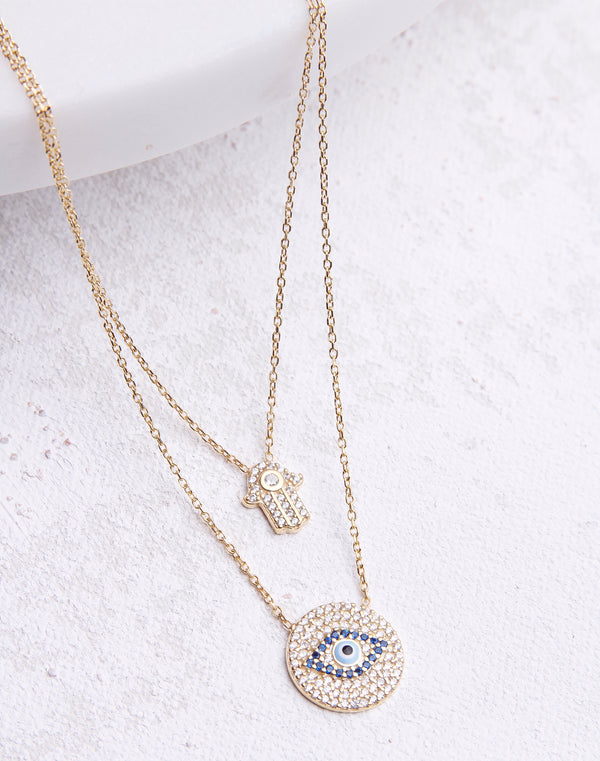 CZ Hamsa Hand Evil Eye Necklace