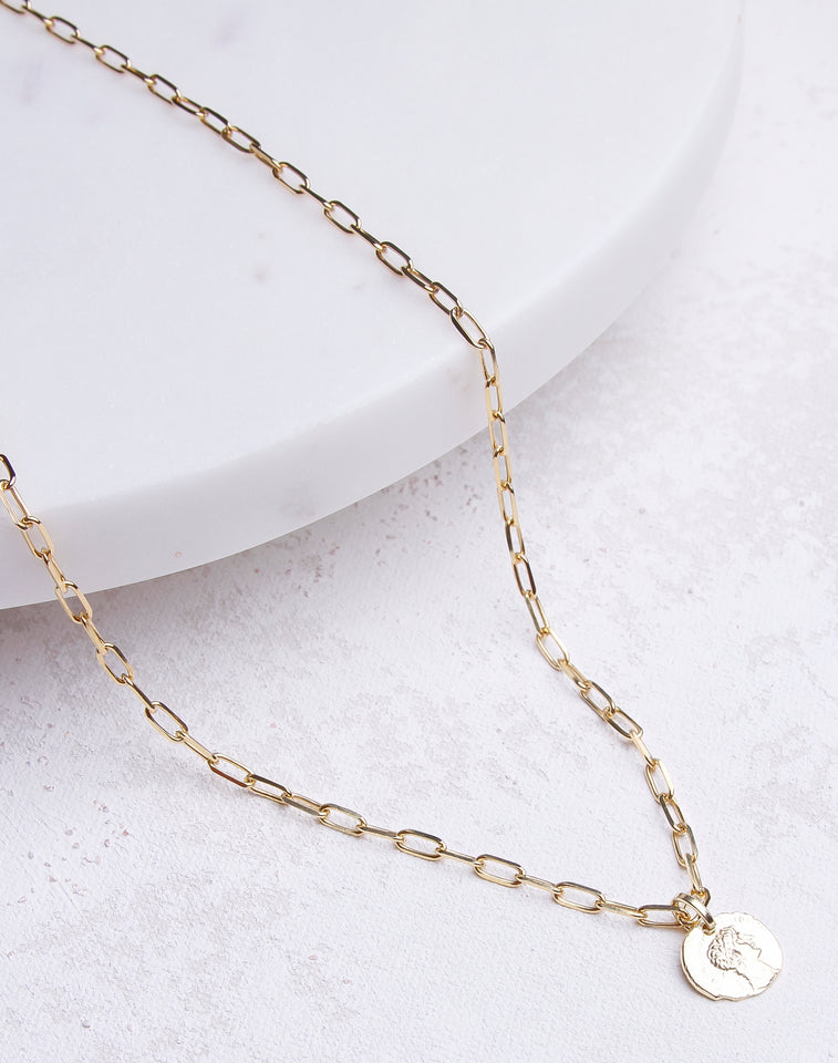 Small Paperclip Chain Coin Necklace