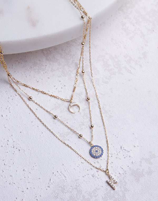 Layered Horn/Evil Eye/Bolt CZ Necklace