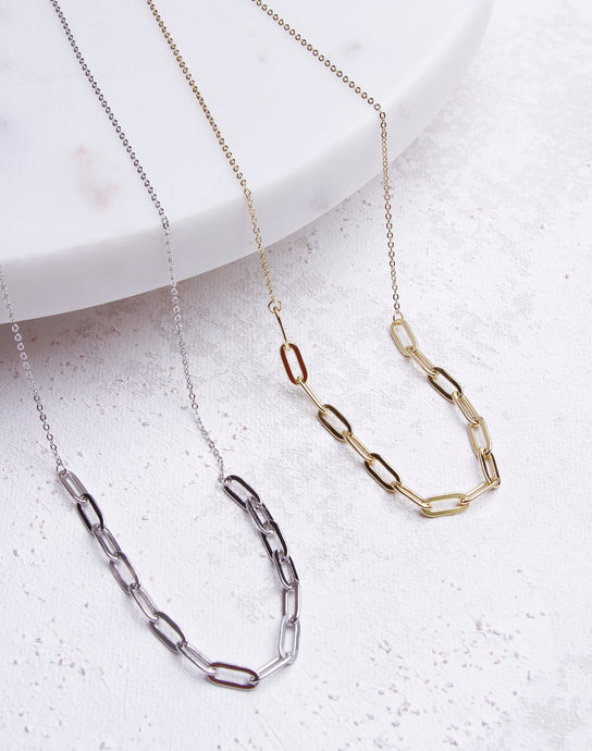 Half Paperclip Chain Link Necklace