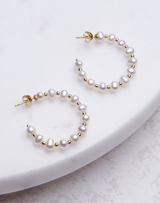 Pearl & Gold Ball Hoop