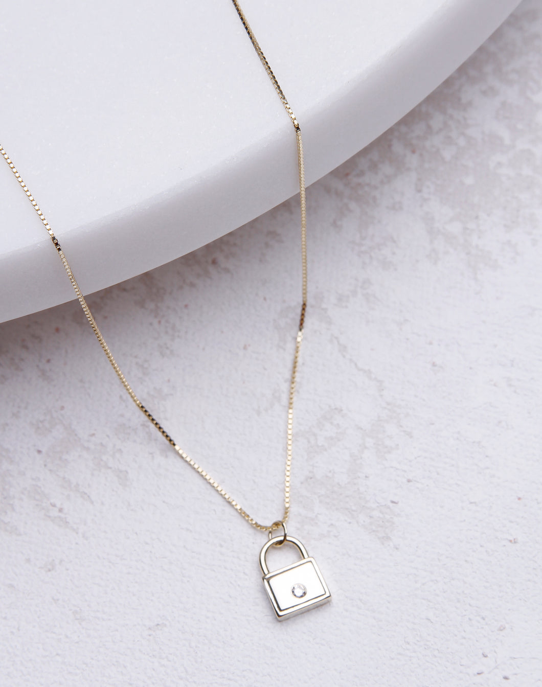 Mini CZ Lock Necklace