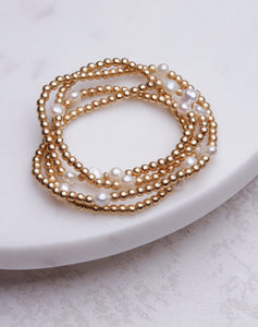 Pearl & Gold Stretch Bracelet