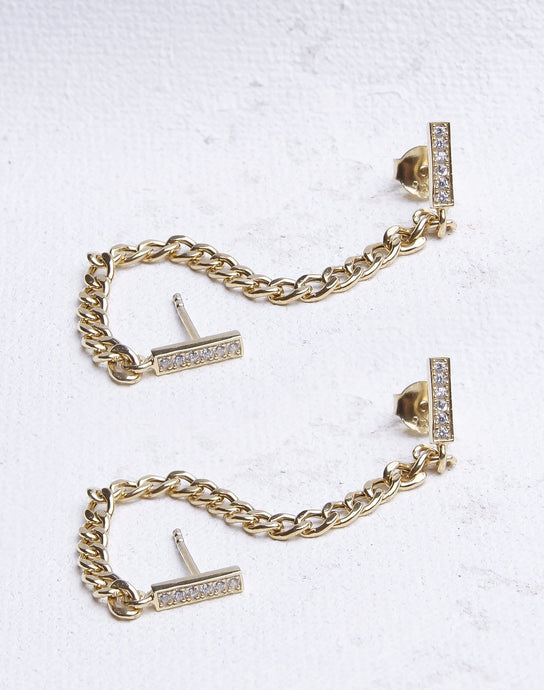 Cuban Chain & Bar Double Earring
