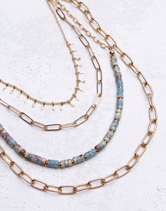 Paperclip Turquoise Layered Necklace - Gold