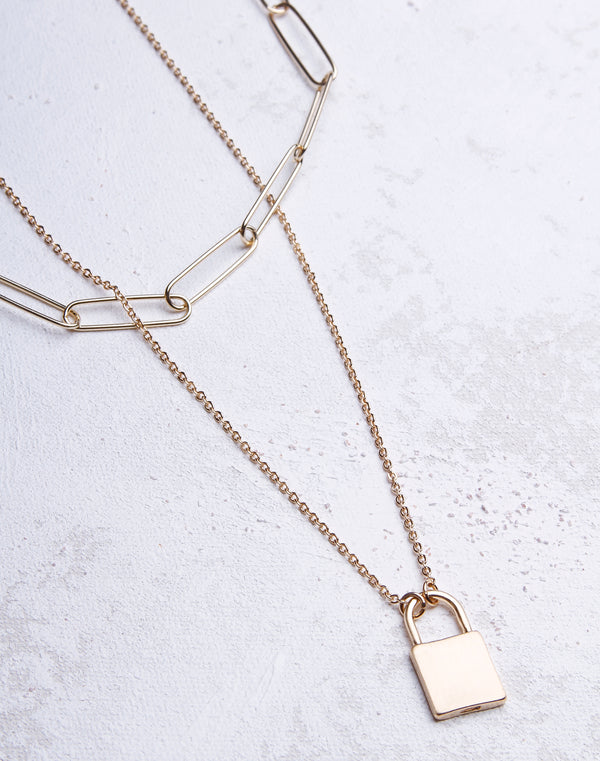 Brush Metal Paper Clip Chain Lock Necklace