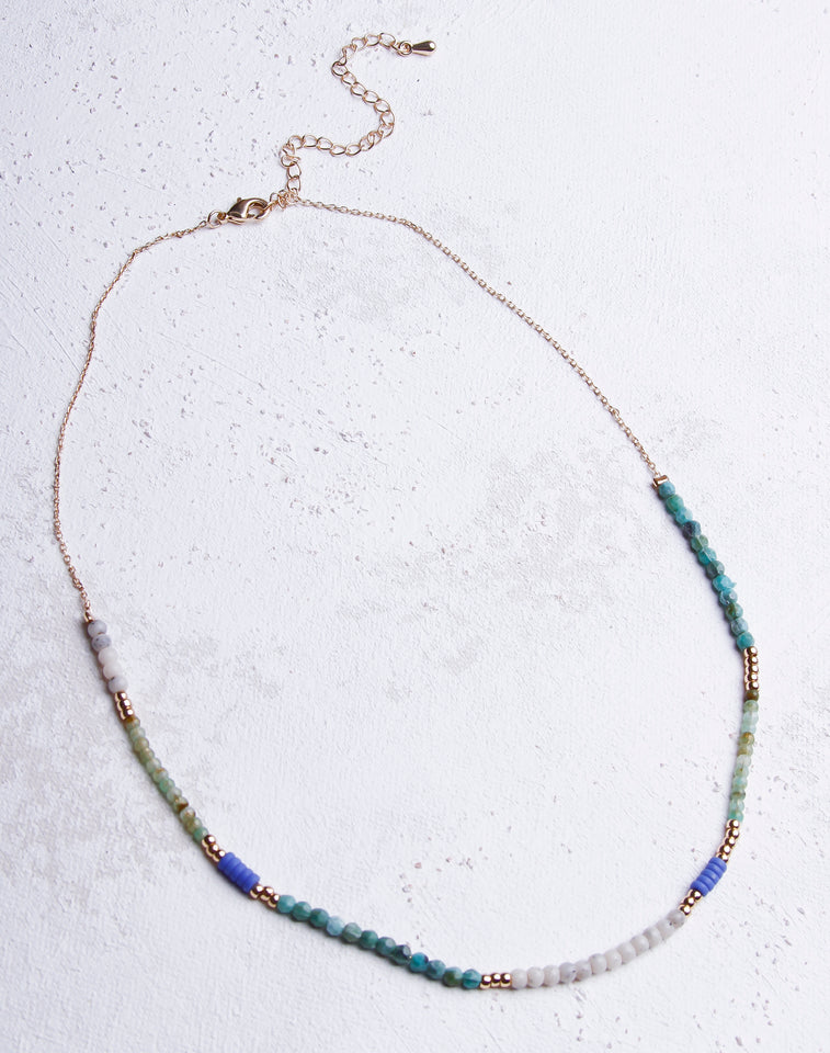 Turquoise Light Grey Stone Necklace - Gold
