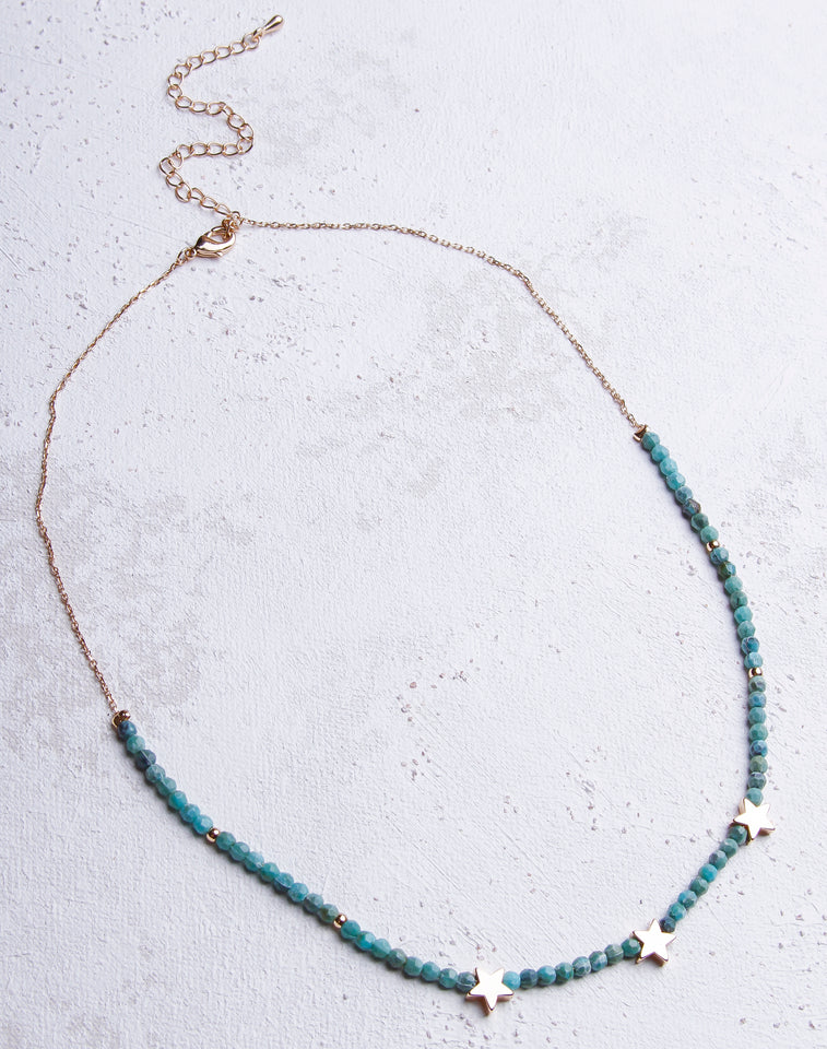 Turquoise Bead 3 Star Necklace- Gold