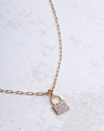 Link Small Lock Crystal Necklace - Gold