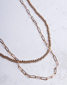 Small Paperclip Ball Layer Necklace - Gold
