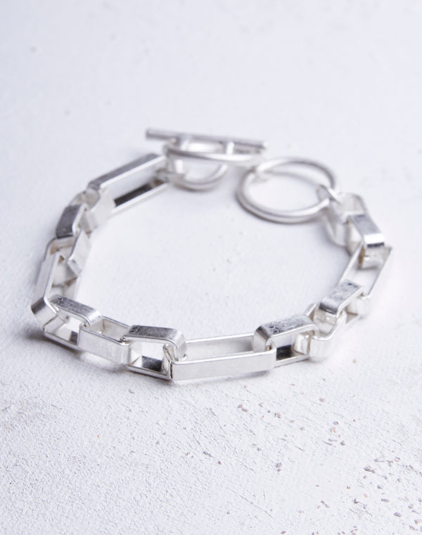 Brushed Metal Link Bracelet- Silver
