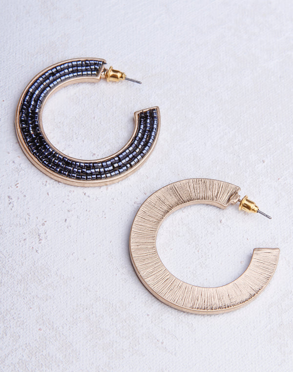 Seed Bead Navy Hoop- Gold