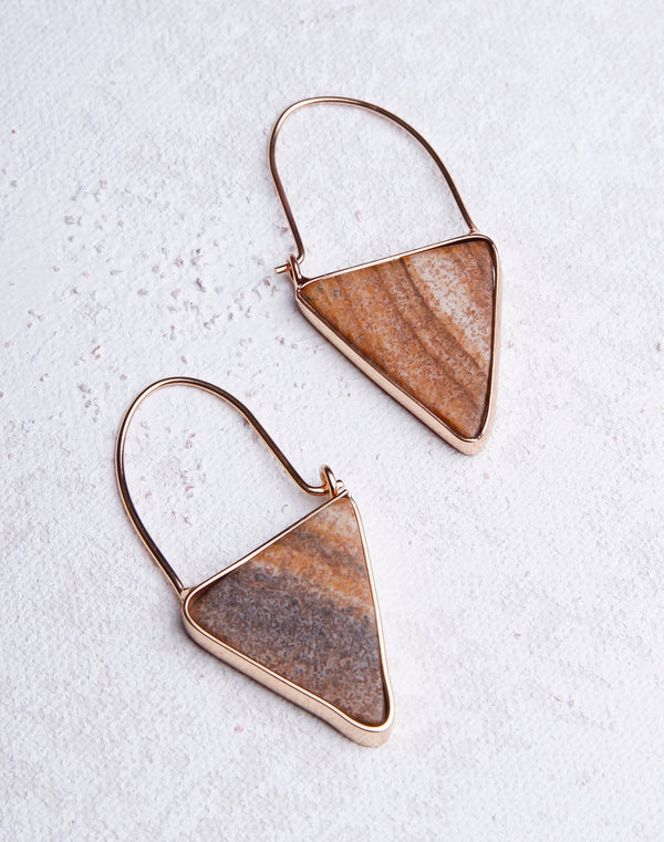 Triangle Natural Stone Dangle- Gold