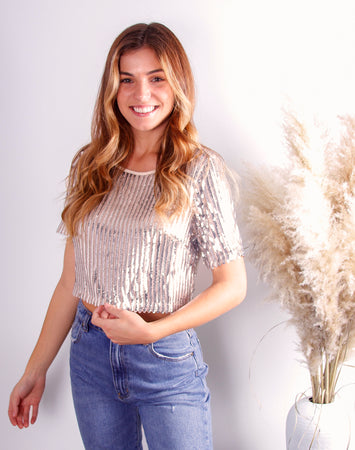 Dream Girl Cropped Sequin Top