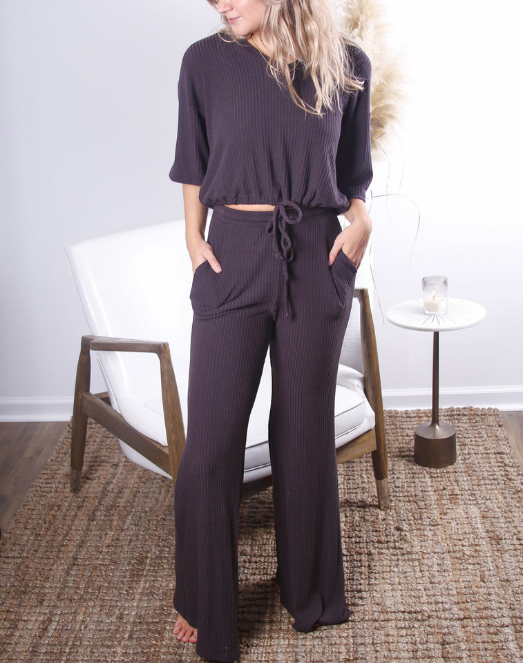 Laid Back Wide Leg Ribed Pant