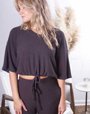 Laid Back Ribbed Waist Tie Top
