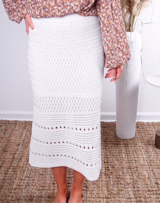 Luna Crochet Sweater Midi Skirt