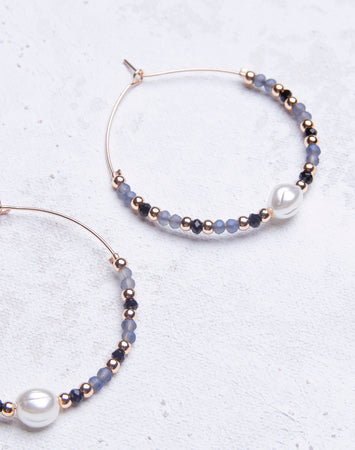 Grey Beaded Pearl Hoop
