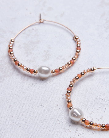 Mauve Beaded Pearl Hoop
