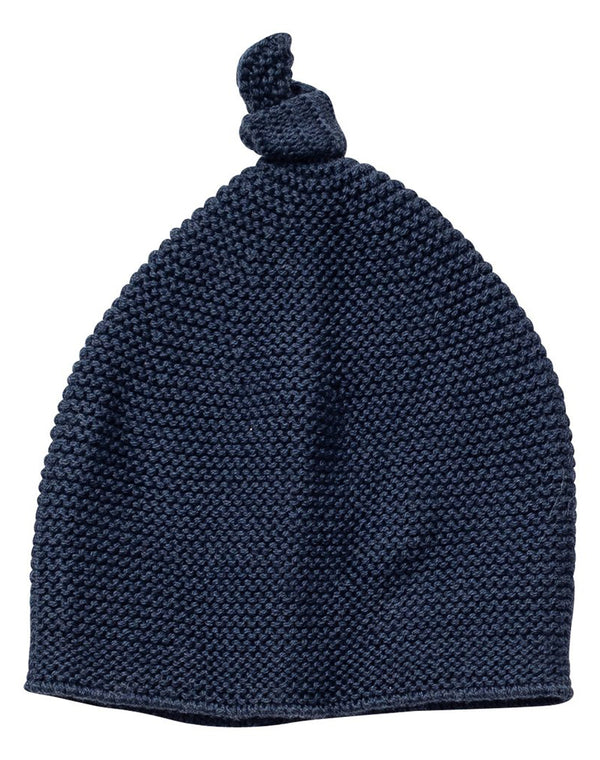 Cozy Top Knot Hat Navy