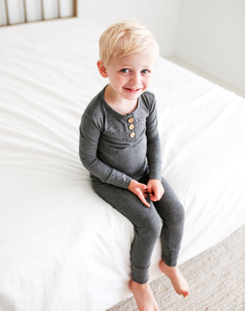 Charcoal Heather Longsleeve Henley Loungewear