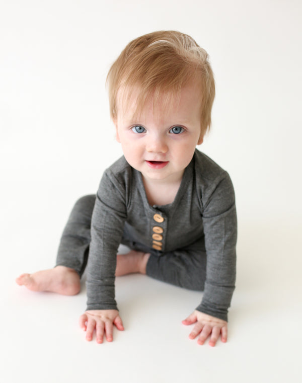 Charcoal Heather Henley Romper