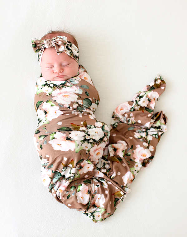 Leona Infant Swaddle and Headwrap Set
