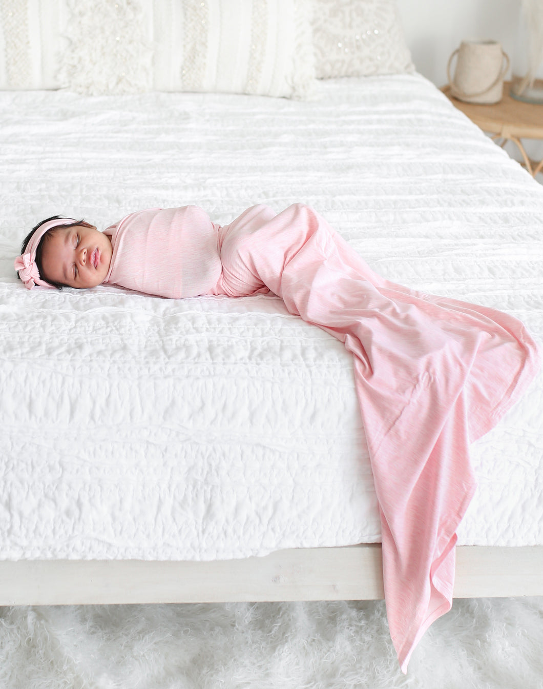Pink Heather Swaddle Headwrap Set