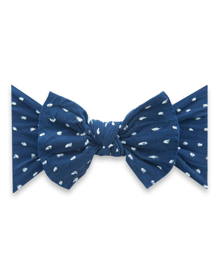 Patterend Shabby Knot Headband - Navy Dot