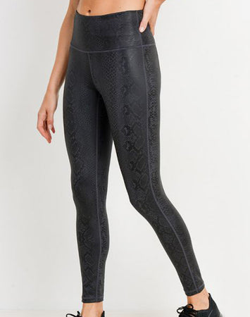 Black Mamba Snake Foil Highwaist Leggings