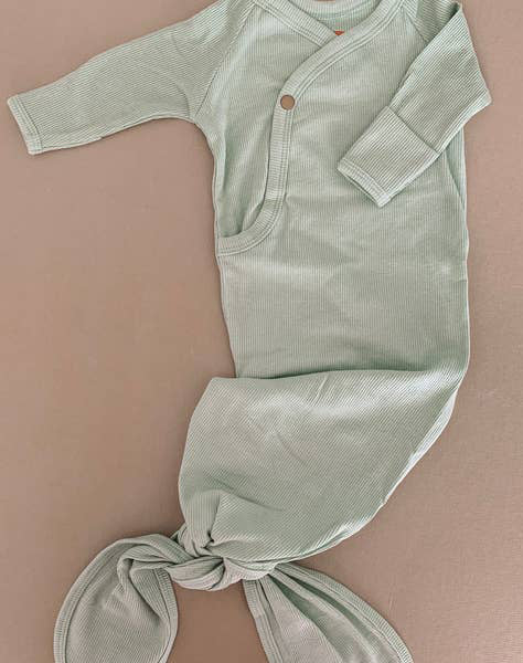 Sage Ribbed Knotted Gown 0-3M