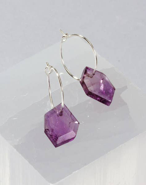 Geometry Mini Hoop Earring -Silver-Amethyst
