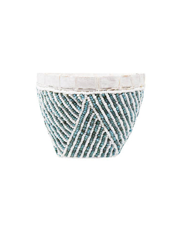 Bamboo Beaded Trinket Bowl Aqua
