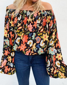 Fall Floral Off Shoulder Top