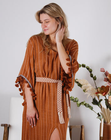 Tropics Embroidered Kaftan Maxi