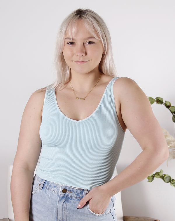Vintage V Neck Cropped Top