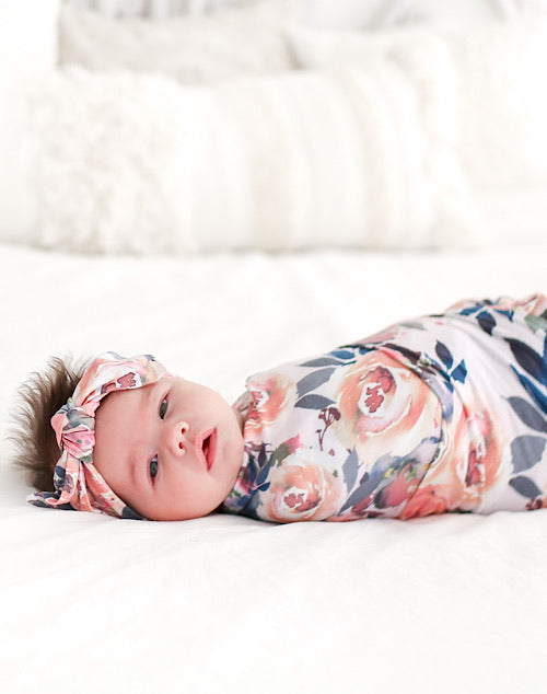 Dusk Rose Swaddle Headwrap Set