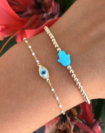 Hamsa Hand Blue Opal Bracelet-14K Gold Filled