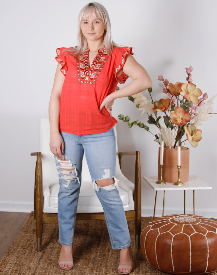 Dixie Embroidered Ruffle Sleeve Top