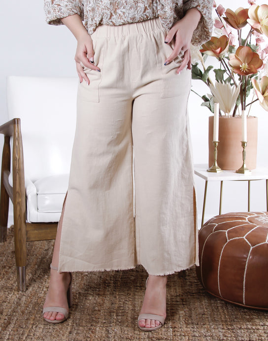 Dawn Linen Straight Wide Pants