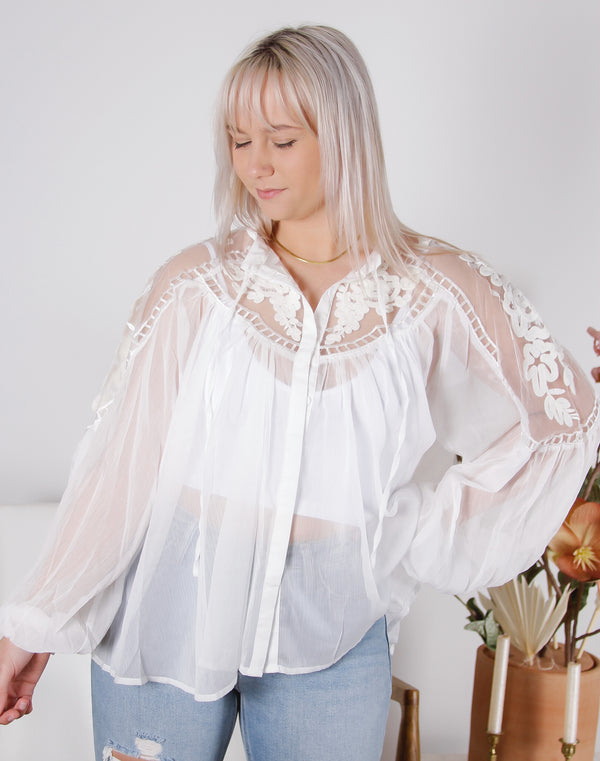Embroidered Yolk Blouse