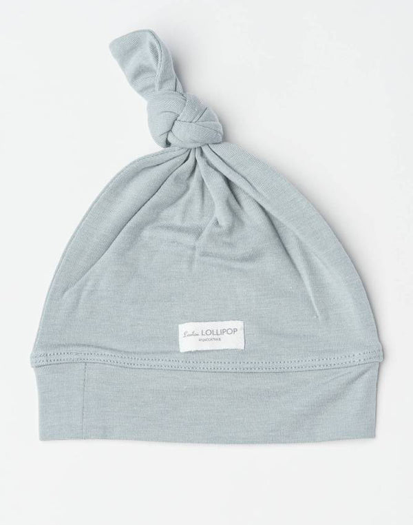 Top Knot Beanie In Tencel- Slate 0-6M