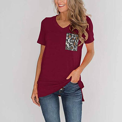 t shirt leopard rouge