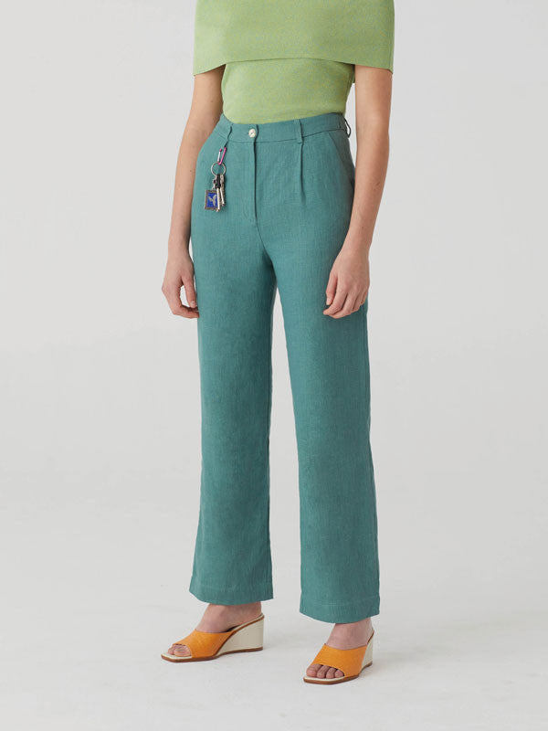 High waisted linen trousers with pleated waist by Paloma Wool