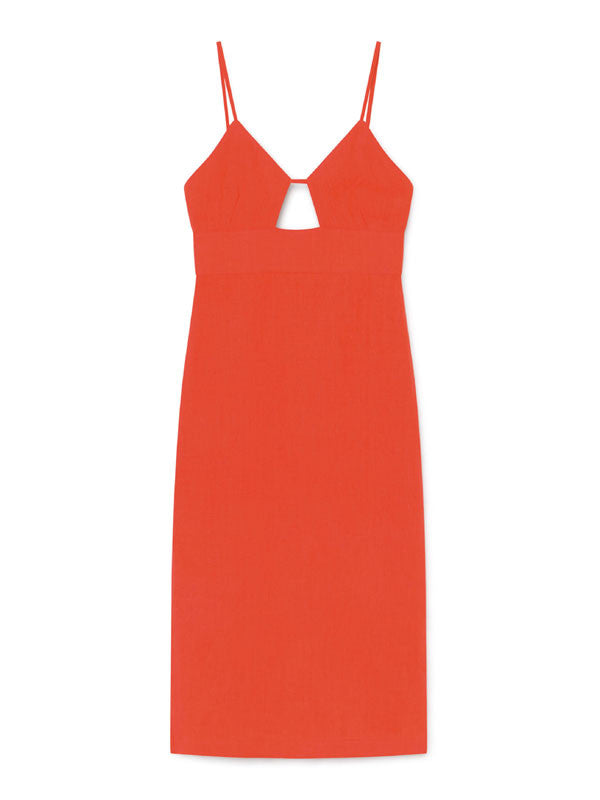 Linen midi strappy dress with lateral slit and front cut out detail by Paloma Wool