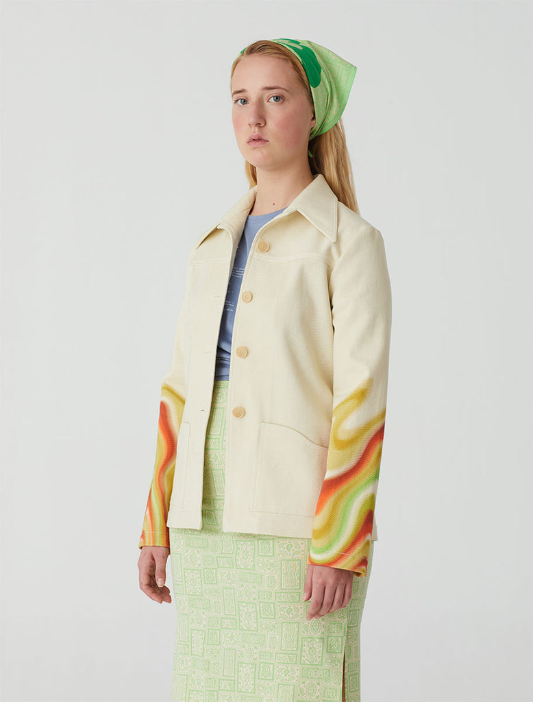 "paloma wool - Clark tight-fitted jacket with lapel collar and irregular pockets with multicolor ""ondas locas"" print."