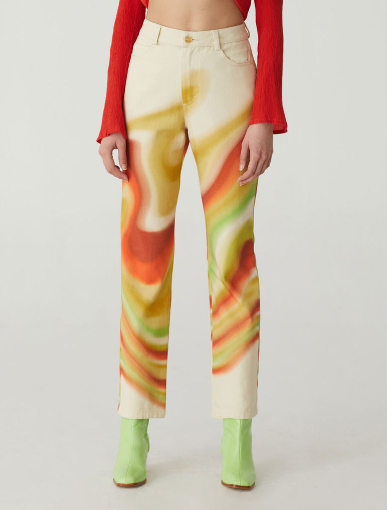 "paloma wool - Kent high waisted straight legged pants with multicolor ""ondas locas"" print."